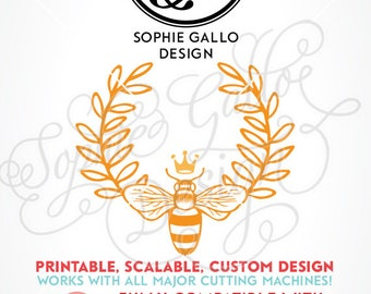 Queen Bee Laurel SVG, DXF & PNG digital download files for Silhouette Cricut vector clip art graphics Vinyl Cutting Machine, Screen Printing