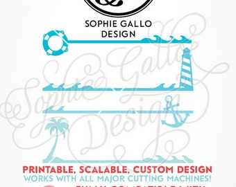 Nautical Borders SVG DXF & PNG digital download files for Silhouette Cricut vector clip art graphics Vinyl Cutting Machine, Screen Printing