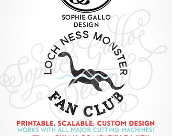 Loch Ness Monster Fan Club SVG DXF PNG digital download files Silhouette Cricut vector clipart graphics Vinyl Cutting Machine Screen Print