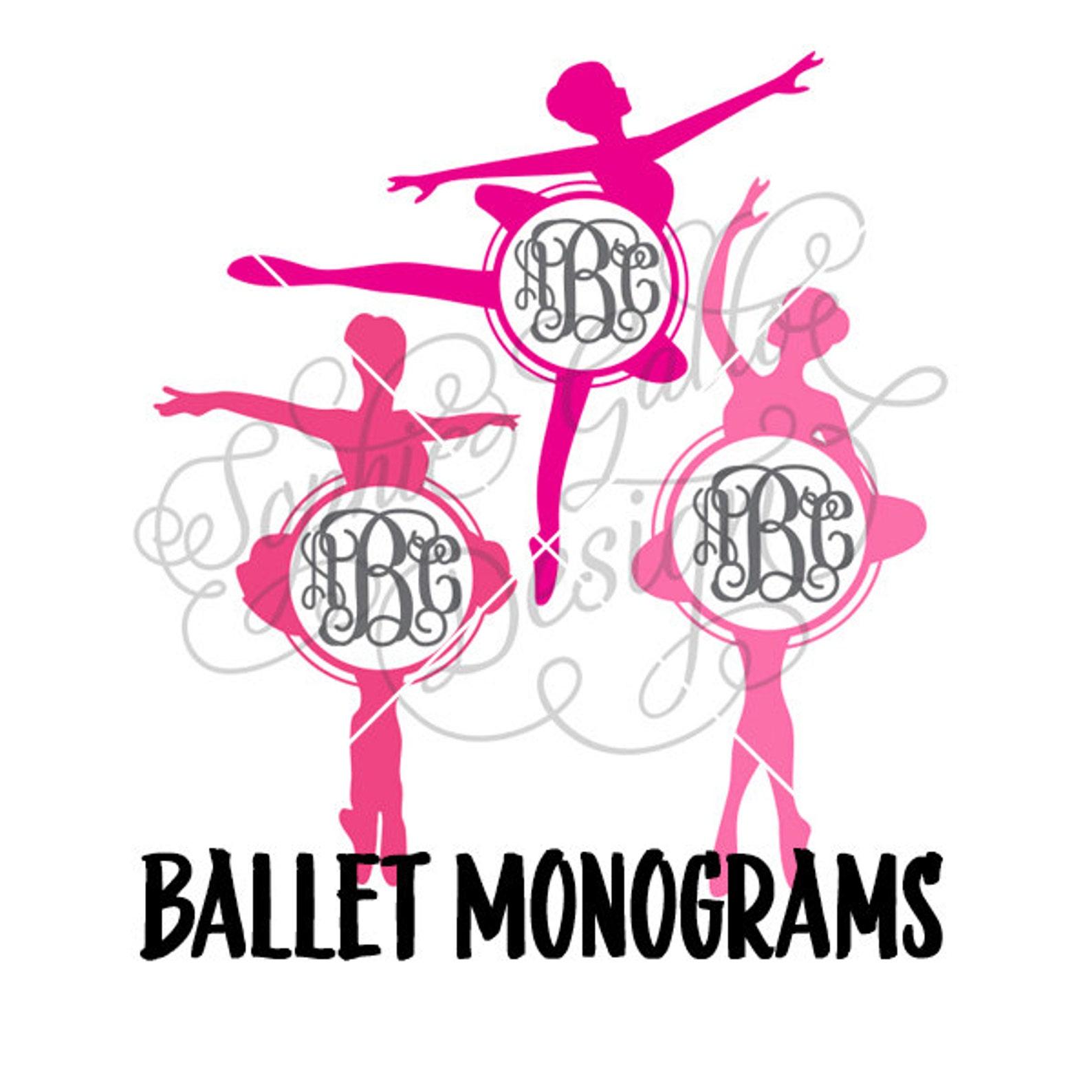 ballet monograms svg dxf digital download files for silhouette cricut vector clip art graphics vinyl cutting machine, screen pri