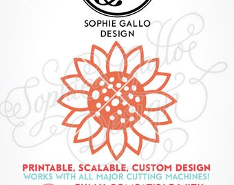Sunflower SVG, DXF, PNG digital download files for Silhouette Cricut vector clip art graphics Vinyl Paper Cutting Machine, Screen Printing