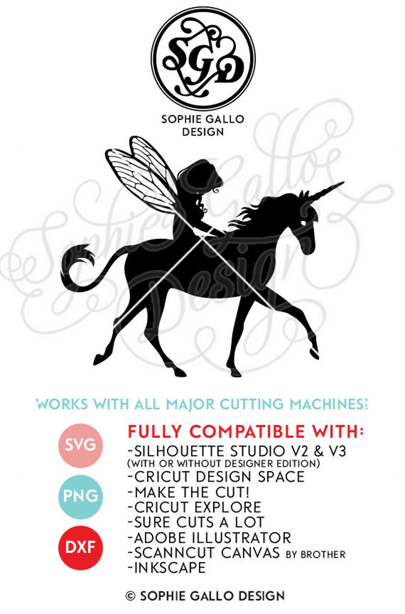Fairy & Her Unicorn SVG DXF PNG digital download files for image 0