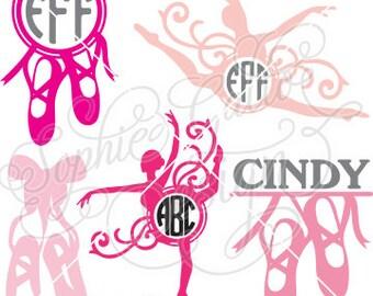 Ballet Monogram Set SVG DXF PNG digital download files for Silhouette Cricut vector clip art graphics Vinyl Cutting Machine, Screen Printing