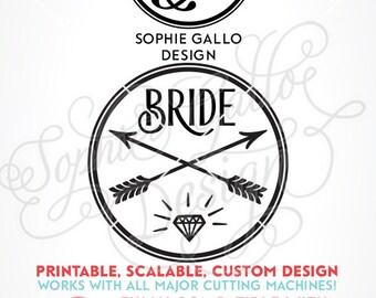 Bride Logo Bachelorette SVG DXF PNG digital download files for Silhouette Cricut vector clip art graphics Vinyl Cutting Machine Screen Print