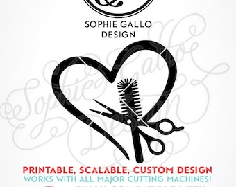 Hair Stylist Love Logo SVG DXF PNG digital download files for Silhouette Cricut vector clipart graphic Vinyl Cutting Machine Screen Printing
