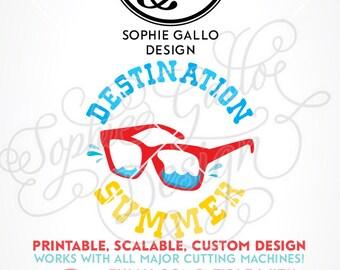Destination Summer Quote SVG, DXF, PNG digital download files Silhouette Cricut vector clipart graphics Vinyl Cutting Machine Screen Print