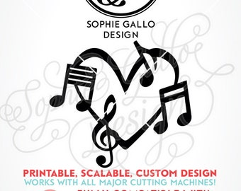 Musical Love SVG, DXF, & PNG digital download file Silhouette Cricut vector Clip Art graphics Vinyl Cutting Machines Screen Printing