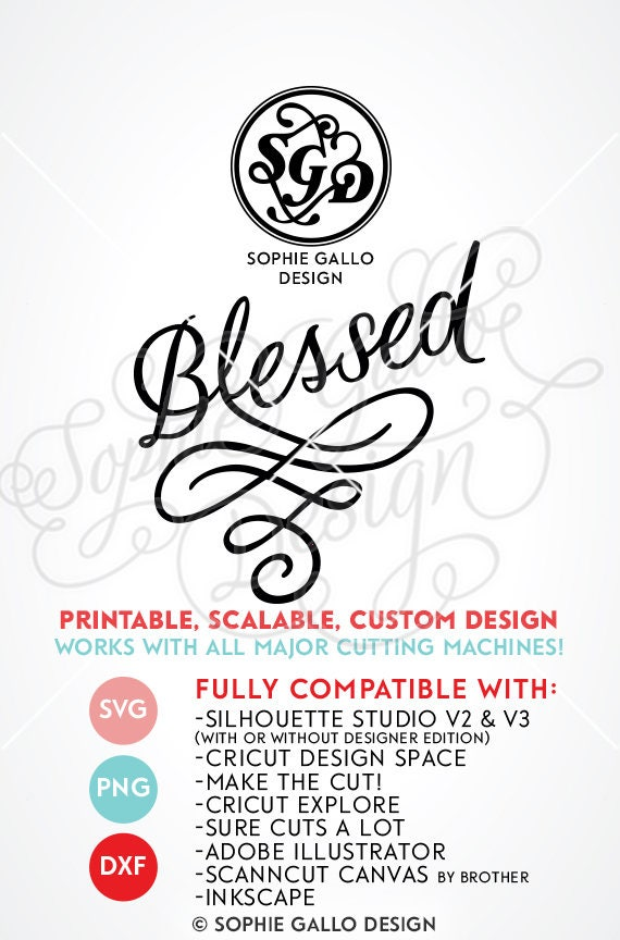 Blessed Script Flourish Svg Dxf Png Digital Download Files
