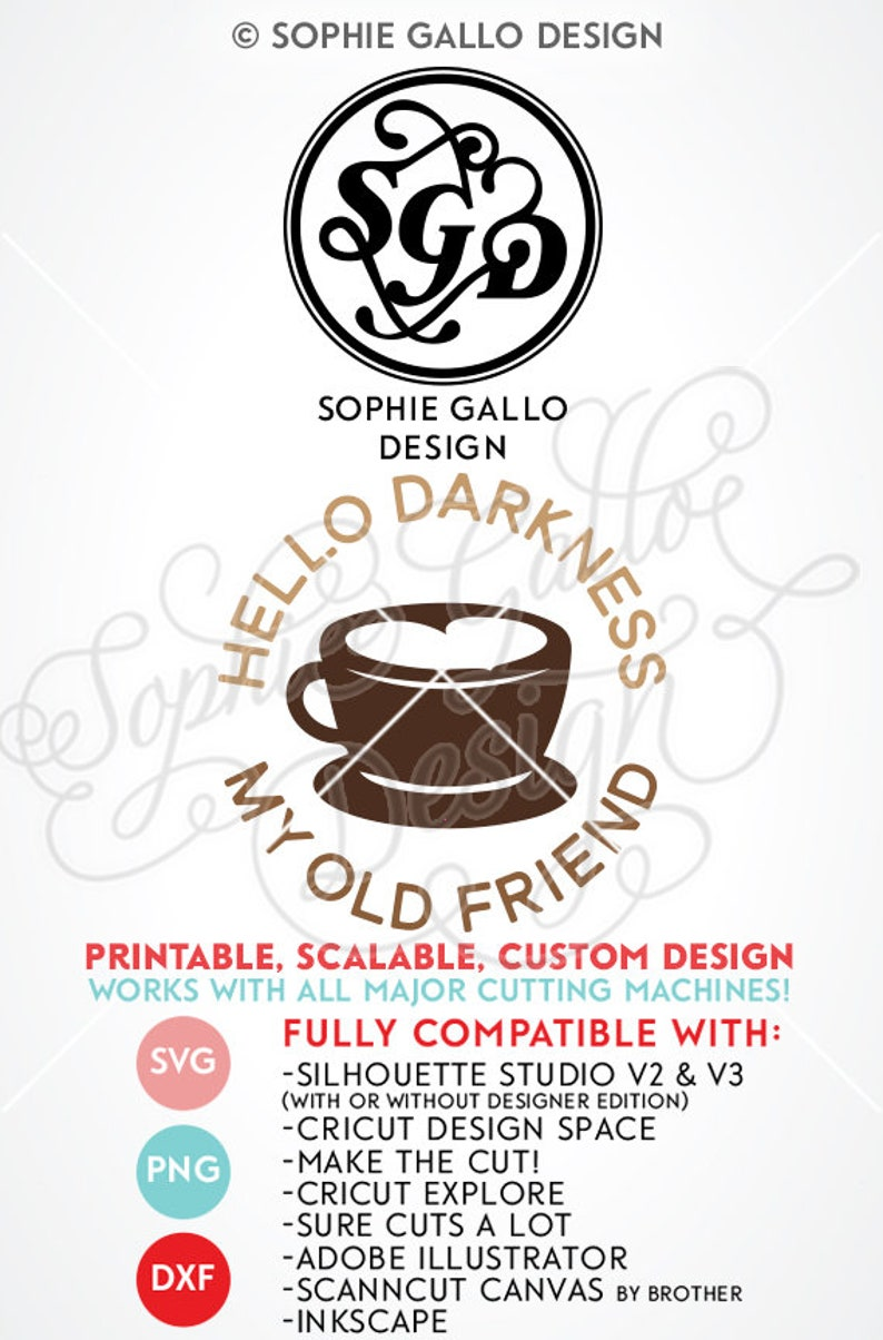 Hello Darkness my Old Friend SVG DXF PNG digital download file Silhouette  Cricut vector clipart graphic Vinyl Cutting Machine ScreenPrinting
