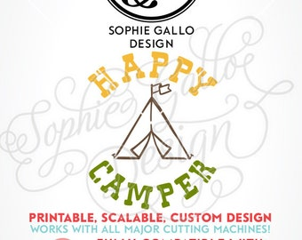 Happy Camper Tent SVG DXF PNG digital download files for Silhouette Cricut vector clipart graphics Vinyl Cutting Machines, Screen Printing