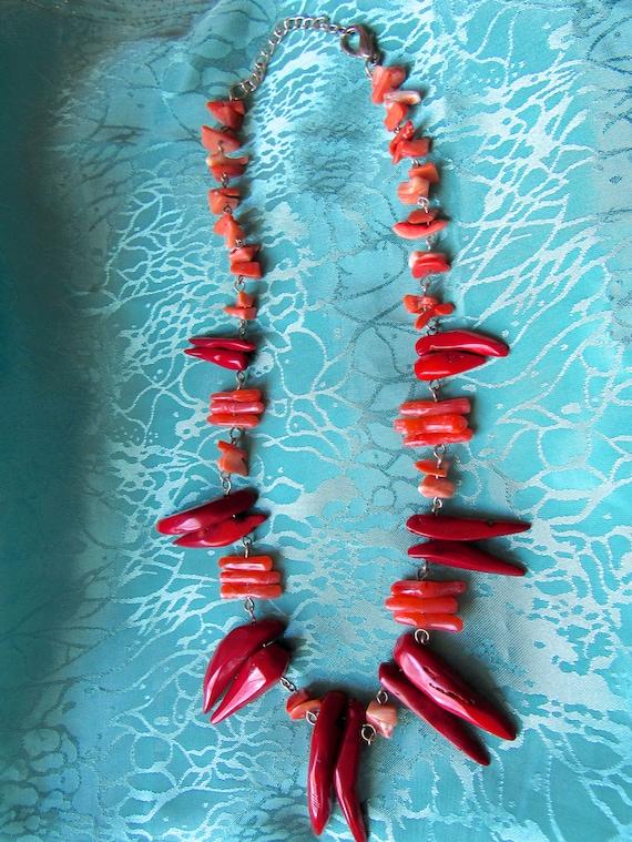 Coral Boho Necklace  Red & Salmon , Orange Coral S