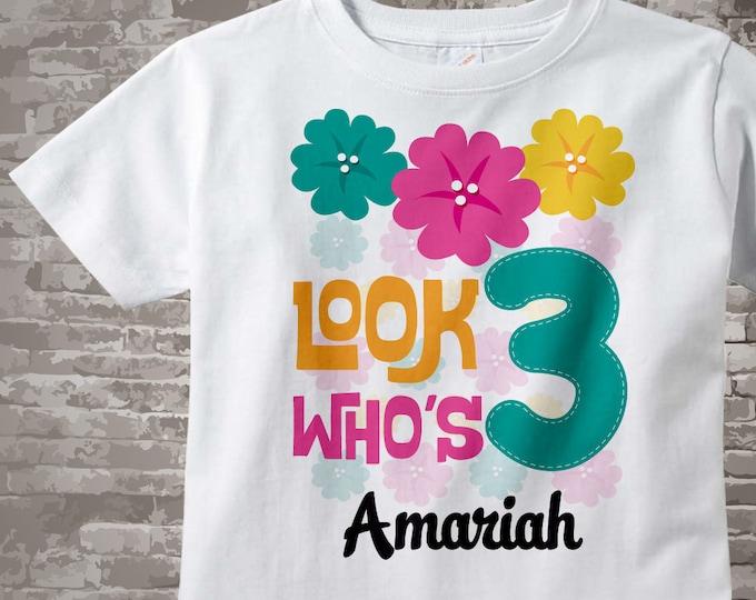 Hawaiian Luau Third Birthday Shirt, 3rd Birthday Shirt, Personalized Girls Birthday Onesie, Age and Name Tee 09302016h