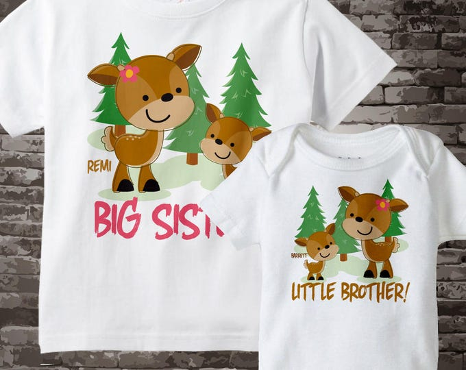 Sibling Shirts Set of Two Personalized Big Sister Little Brother Woodland Deer Doe and Buck Tee Shirts or Onesies 01072014c