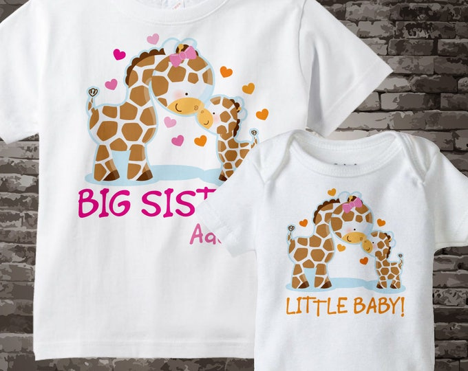 Gender Neutral Coming home outfit | Gender Neutral Baby | Set of Two Big Sister and Little Baby Giraffes Shirt and Onesie 03152013b