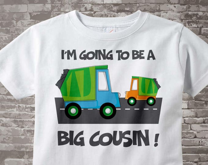 Personalized Big Cousin Garbage Truck Tee Shirt or Onesie, I'm going to be a Big Cousin with neutral gender baby truck 03192012c