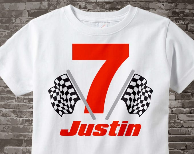 7th Birthday Checkered Flag Racer Seventh Birthday Shirt Personalized Birthday Boy Racing Theme Tee Shirt or Onesie 12092014c