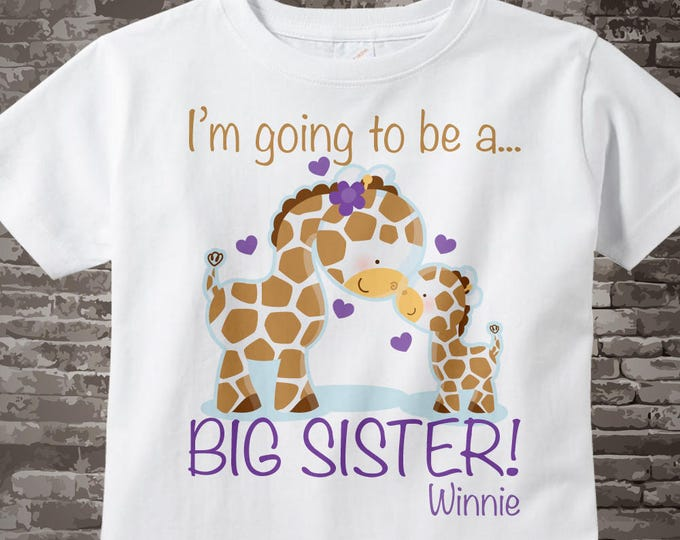 Big Sister Giraffe Shirt - Girl's Personalized I'm Going to Be A Big Sister t-Shirt with Purple writing - Big Sister Outfit 04152013d