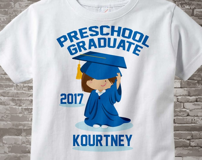 Preschool Graduate Shirt, Preschool Graduation Shirt, Personalized for your little girl with year and name 04212016c