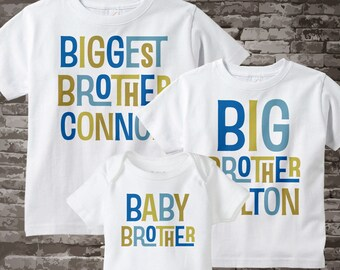Boys Set of Three Biggest Brother, Big Brother Shirt, and Baby Brother Shirts and Onesie Set Personalized Pregnancy Announcement 02242014a