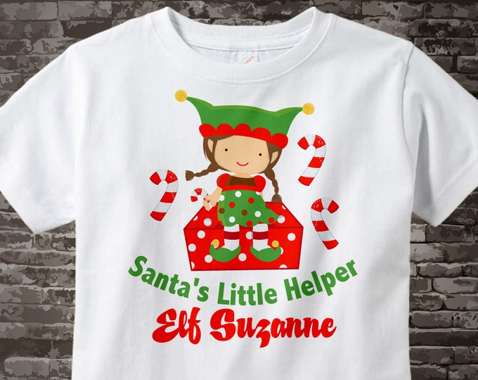 Girl's Christmas Elf Shirt or Onesie, Santa's Helper Shirt, Personalized Santa's Little Helper Elf Tee Shirt or Onesie 12132011b