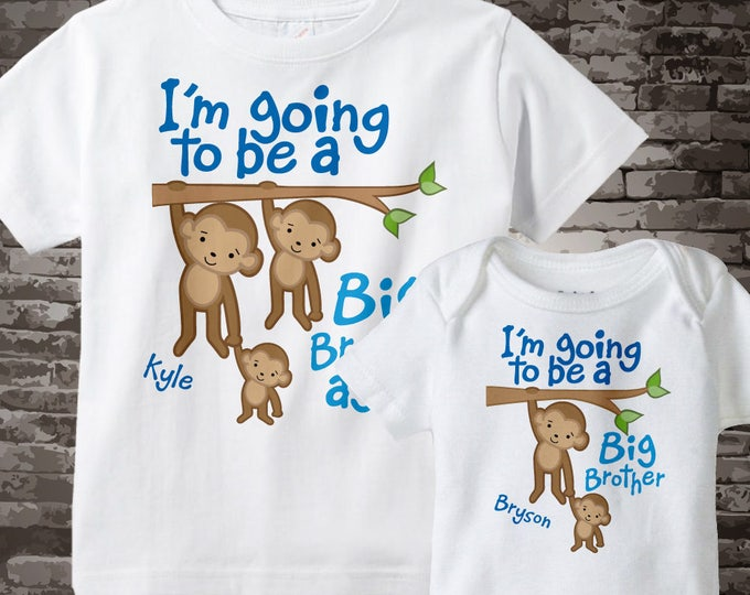 Set of Two Personalized I'm Going to Be A Big Brother Again and I'm going to be a Big Brother Tee Shirts or Onesies 04022014e