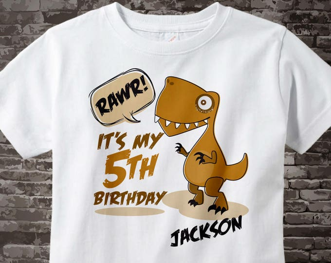 Dinosaur 5th Birthday Shirt, Personalized Dino Fifth Birthday Shirt with Child's Name and age, 5 year old Birthday shirt 05192015c