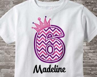 Sixth Birthday Shirt, Pink Chevron 6 Birthday Shirt, Any Age Personalized Girls Birthday Shirt Pink Age and Name Tee for kids 04242014j