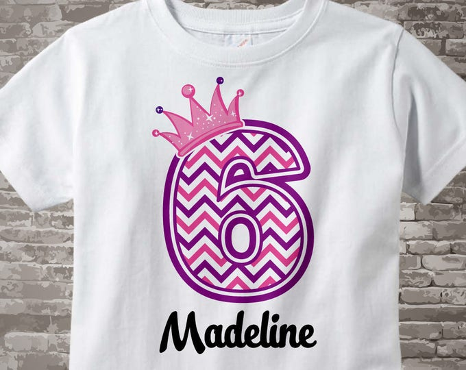Sixth Birthday Shirt, Pink Chevron 6 Birthday Shirt, Any Age Personalized Girls Birthday Shirt Pink Age and Name Tee for kids 04242014j