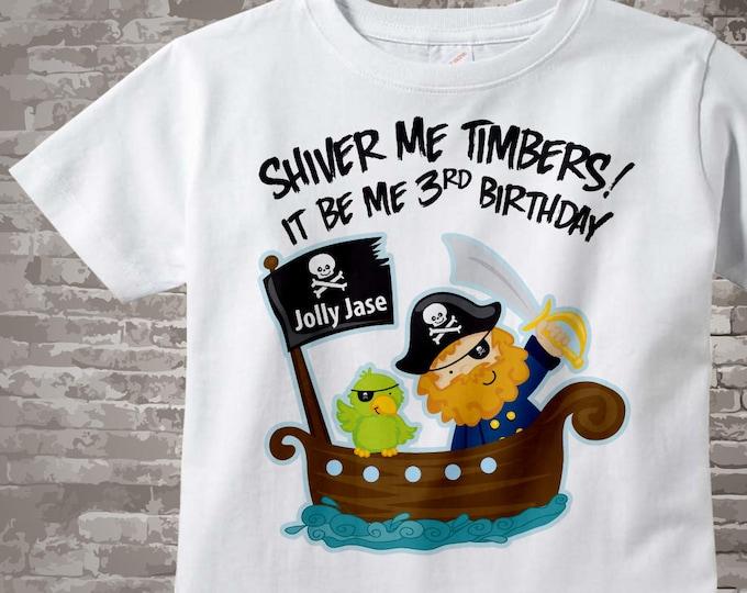 Third Birthday Pirate shirt - Pirate 3rd birthday shirt - Gift for 3 year old boy - Pirate Theme party outfit - Birthday gift 01042011a