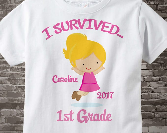 Elementary School Graduation | Personalized I Survived 1st Grade Shirt, First Grader Shirt Child's Back To School Shirt or 05052014a