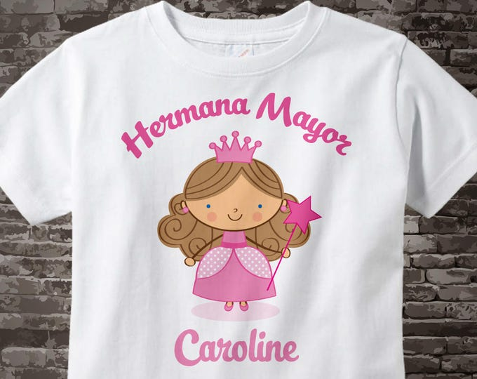 Spanish Princess Big Sister Shirt, Personalized Hermana Mayor Shirt or Onesie, Big Sister Shirt for Toddlers and Kids 08062014e