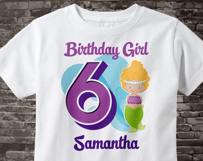 Sixth Birthday Shirt, Mermaid 6 Birthday Shirt or Onesie, Any Age Personalized Shirt Purple Age and Name Tee for kids 07292015a