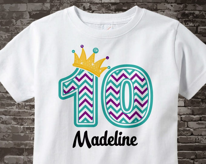 Tenth Birthday Shirt, Turquoise Chevron 10 Birthday Shirt, Any Age Personalized Girls Birthday Shirt Outfit top 01142016c
