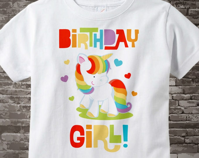 Rainbow Unicorn Birthday Girl White Cotton T-shirt or Onesie Bodysuit 01162014f