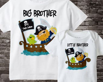 Big Brother Little Brother Matching T-shirt and Onesie Bodysuit set with Pirates 04172013a