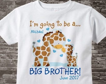 Personalized I'm Going to Be A Big Brother Giraffe Shirt or Onesie with name and date with Little Baby 12072012b