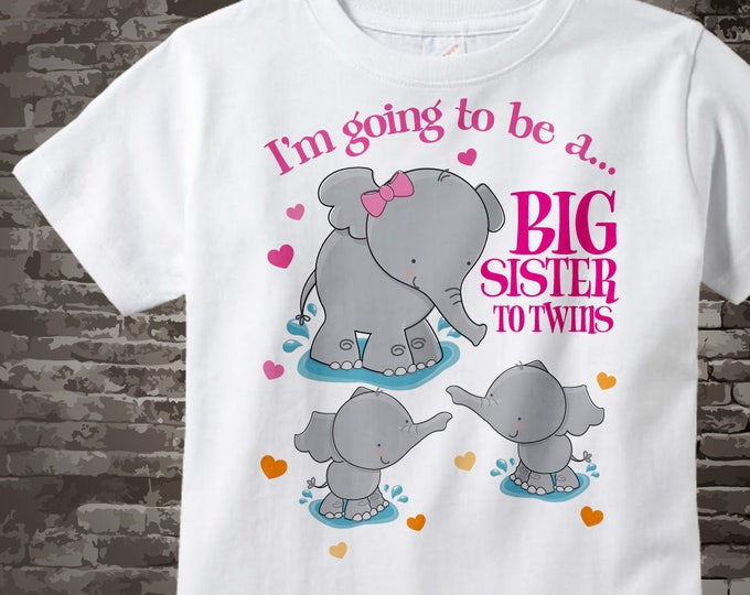I'm going to be a big sister to Twins t-shirt or Onesie Bodysuit with Elephants, Short or Long Sleeve Shirt or Onesie Bodysuit 10052017d