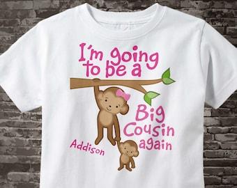 I'm Going to Be A Big Cousin Again Shirt, Big Cousin Again Onesie, Personalized Big Cousin Again Shirt, Monkey Shirt 02032014g