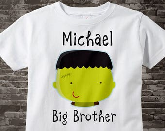 Boys' Halloween Big Brother Shirt Personalized Infant, Toddler or Youth Tee Shirt Frankenstein Halloween t-shirt or Onesie 10022015c