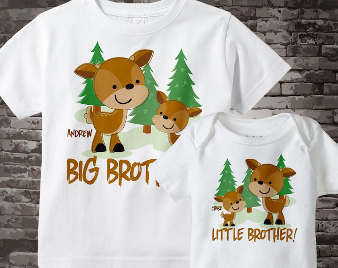 Set of Two Personalized Big Brother and Little Brother Woodland Deer Buck Tee Shirts or Onesies 09172012d