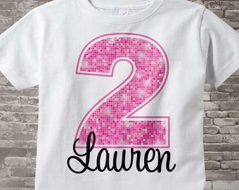 Girl's Pink Number Birthday Shirt, Personalized Girls Birthday Shirt with Pink Age and Name Tee or Infant Onesie for kids 01062014c