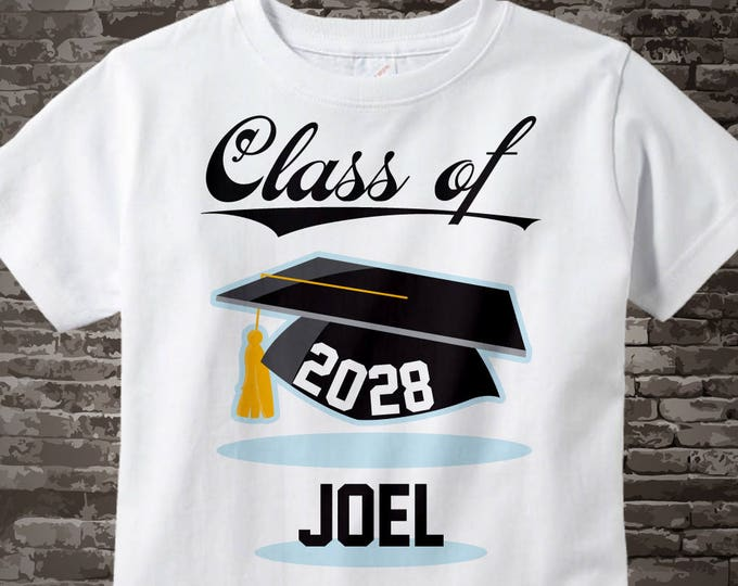 Class of 2028 Shirt for Graduate | Personalized with your graduating child's name | Black Mortarboard and lettering 08062015e