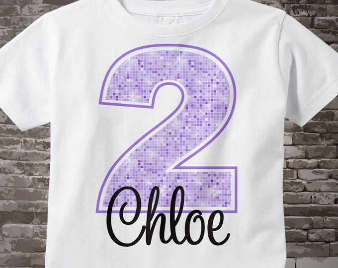 Second Birthday Shirt, Light Purple 2 Birthday Shirt, Any Age Personalized Girls Birthday Shirt Light Purple Age and Name 03132014j