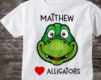 I love Alligators Shirt or Onesie Bodysuit Personalized with name, has cute green alligator face available in short or long sleeve 09222017a
