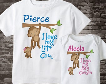 Set of Two I Love My Big Cousin and I Love My Little Cousin Monkey Boy and Girl Set of one tee and one onesie 01292014f