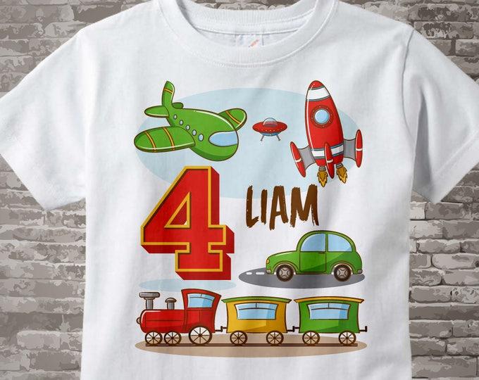 Transportation Birthday shirt - Birthday Boy shirt - Plane Train Automobile Rocket Space Ship Transportation birthday party theme 03092017b