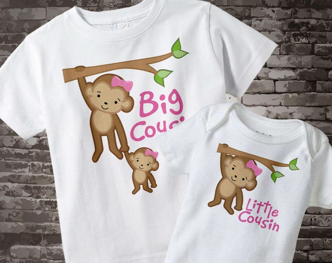 Set of Two, Big Cousin Little Cousin Shirt and Onesie with Cute Monkeys 04092013d