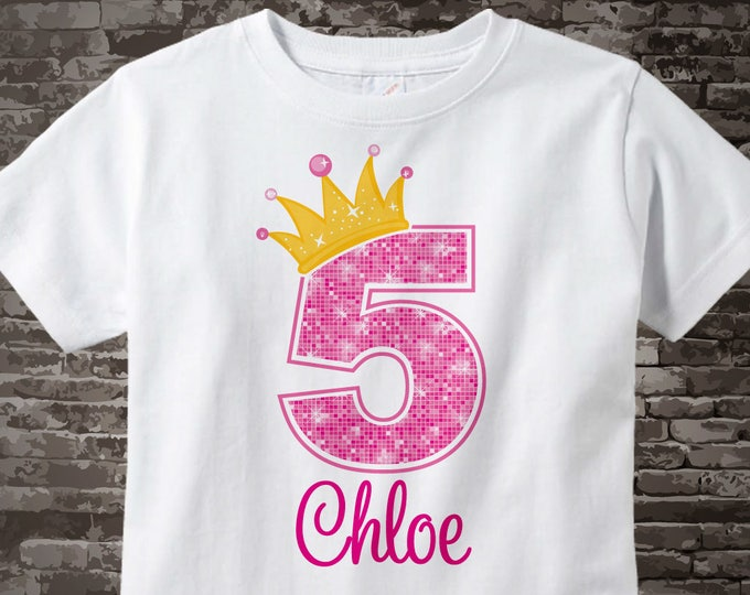 5th Birthday Shirt, Pink 5th Birthday Outfit top, Personalized Girls Birthday Shirt - 5th birthday girl - birthday girl gift - 10032016fz
