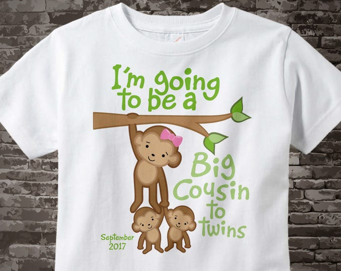 I'm Going to Be A Big Cousin to twins Shirt or Onesie with due date, Pregnancy Announcement 03262015a