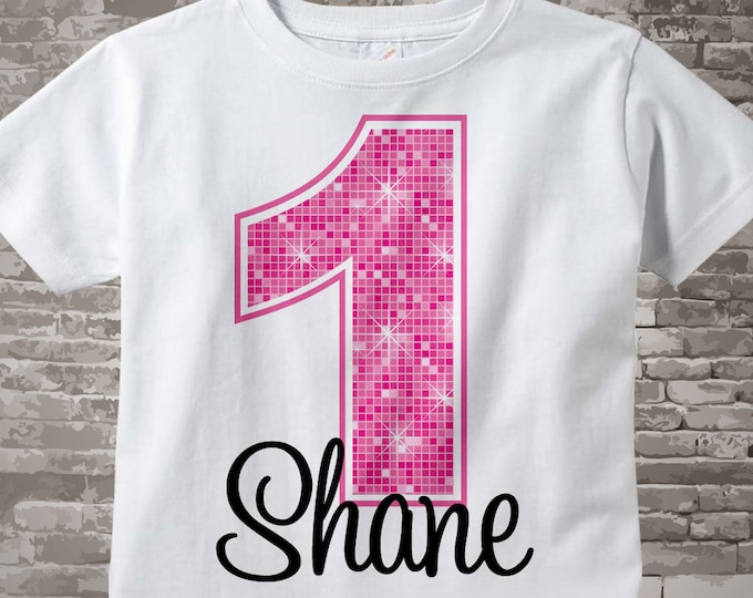 First Birthday Shirt, Pink Birthday Shirt, Personalized Girls Pink Age and Name Tee or Infant Onesie for kids 12122011bz